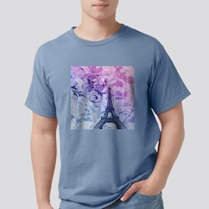 purple floral paris eiffel tower art T-Shirt