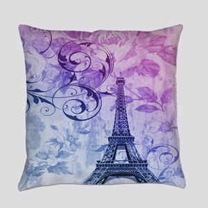 purple floral paris eiffel tower Everyday Pillow