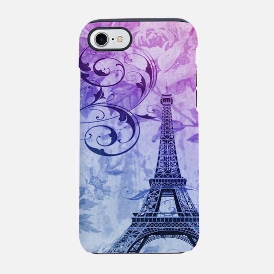 purple floral paris eiffel t iPhone 8/7 Tough Case