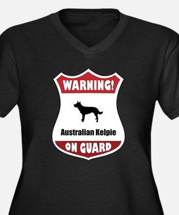 Kelpie On Guard Women's Plus Size V-Neck Dark T-Sh