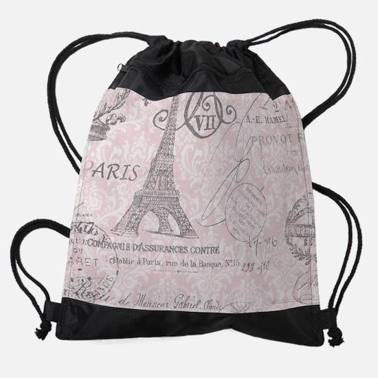 pink paris eiffel tower Drawstring Bag