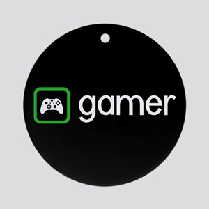 Gamer (Green) Round Ornament