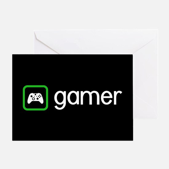 Gamer (Green) Greeting Cards