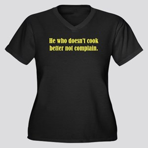He Who Doesn't Cook Women's Plus Size V-Neck Dark