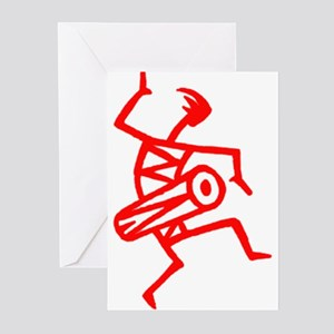 Drumming Petroglyph Greeting Cards