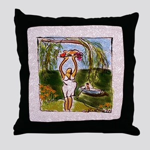 Woman Under Willows (lacy) Throw Pillow