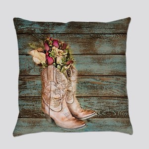 cowboy boots barn wood Everyday Pillow