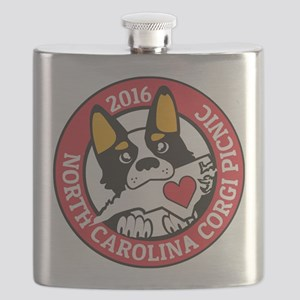2016 NC Corgi Picnic logo-red border Flask