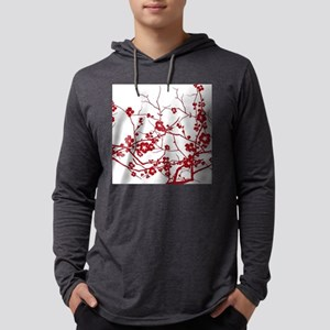 modern zen red plum flower flo Long Sleeve T-Shirt