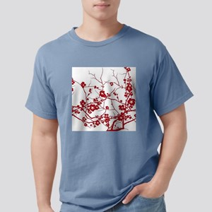 modern zen red plum flower floral print T-Shirt