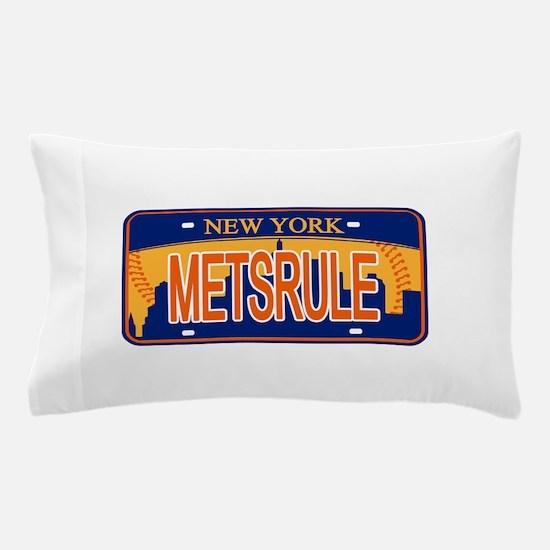Mets Rule Orange Licence Plate Pillow Case