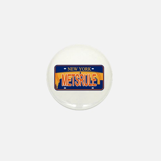 Mets Rule Orange Licence Plate Mini Button