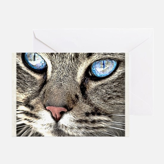 Unique Cat 3 face pink Greeting Card