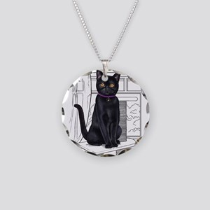 Bombay Cat with line drawn B Necklace Circle Charm
