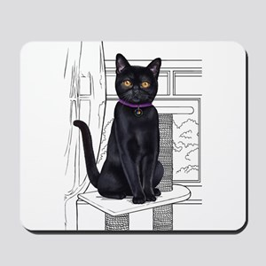 Bombay Cat with line drawn Background Mousepad