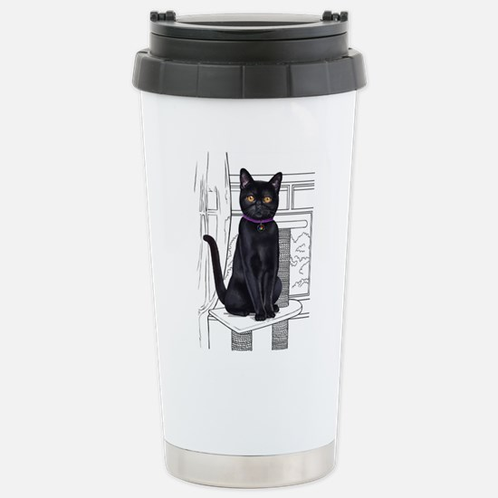 Bombay Cat with line drawn Background Mugs