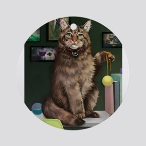 Maine Coon with Background Round Ornament