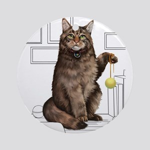 Maine Coon with line drawn Backgrou Round Ornament