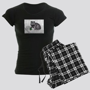Scottish Fold with line drawn Background Pajamas