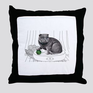 Scottish Fold with line drawn Backgro Throw Pillow
