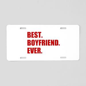 Red Best Boyfriend Ever Aluminum License Plate