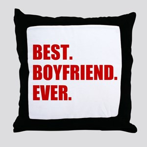 Red Best Boyfriend Ever Throw Pillow