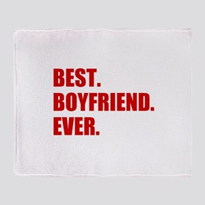 Red Best Boyfriend Ever Throw Blanket