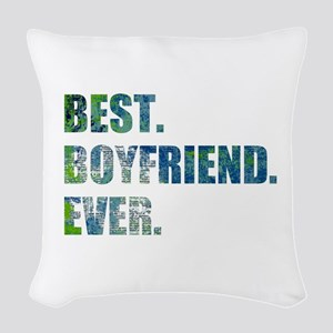 Best Boyfriend Ever Arty Grunge Woven Throw Pillow