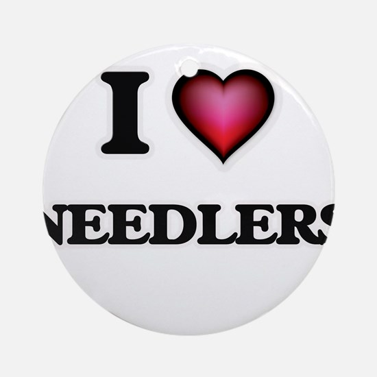 I love Needlers Round Ornament