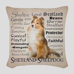 Sheltie Traits Woven Throw Pillow
