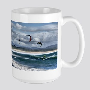 Kitesurfing on beach Stainless Steel Travel Mugs