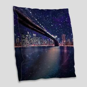 Spacey Manhattan Skyline Burlap Throw Pillow
