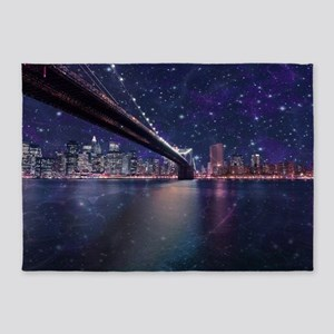 Spacey Manhattan Skyline 5'x7'Area Rug