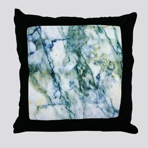 Gray & Light Blue-Green Faux Marb Throw Pillow