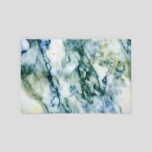 Gray & Light Blue-Green Faux Marbl 4' x 6' Rug
