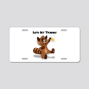 Party Raccoon Aluminum License Plate