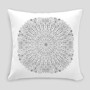 Large Mandala B&W Everyday Pillow