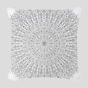 Large Mandala B&W Woven Throw Pillow