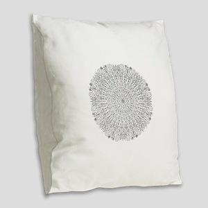Large Mandala B&W Burlap Throw Pillow