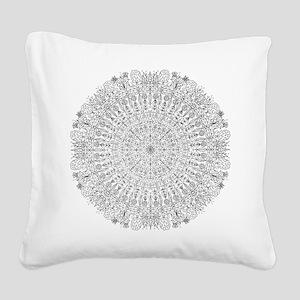 Large Mandala B&W Square Canvas Pillow