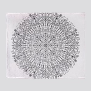 Large Mandala B&W Throw Blanket