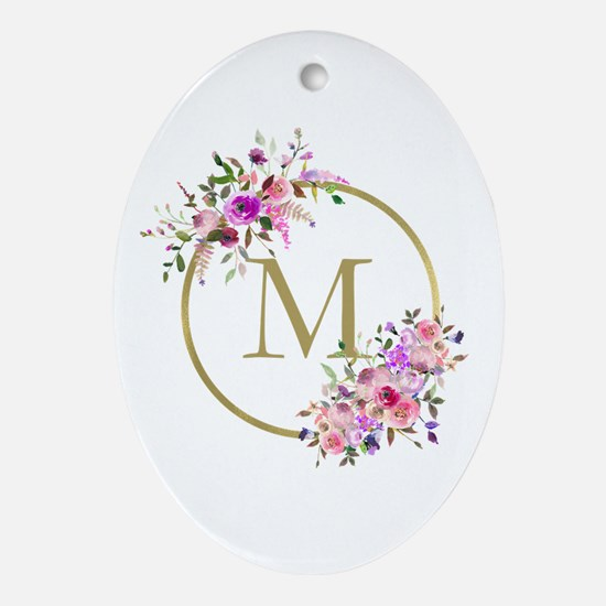 Floral and Gold Monogram Oval Ornament