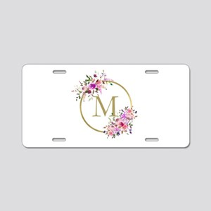 Floral and Gold Monogram Aluminum License Plate