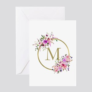 Floral and Gold Monogram Greeting Cards