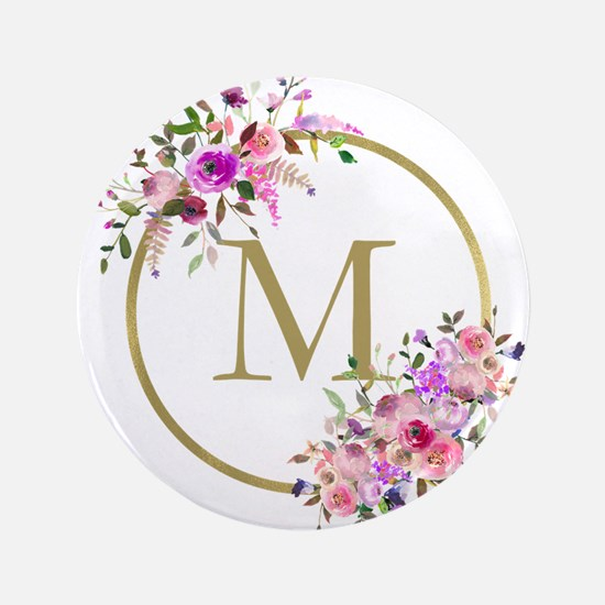 """Floral and Gold Monogram 3.5"""" Button (100 pack)"""