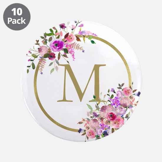 """Floral and Gold Monogram 3.5"""" Button (10 pack)"""