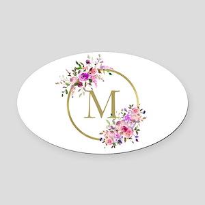 Floral and Gold Monogram Oval Car Magnet