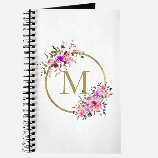 Floral and Gold Monogram Journal