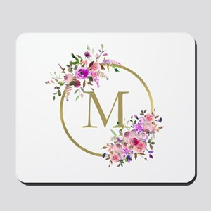Floral and Gold Monogram Mousepad