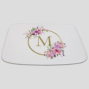 Floral and Gold Monogram Bathmat